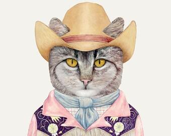 COUNTRY CAT Art Print, Children's Wall Art, Country Western, Cowboy kitten