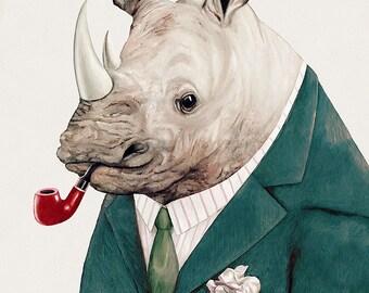 Rhinoceros Art Print, Kids Wall Art, Boys Room Decor, Animals in Clothes, Large Animal Prints, Rhino Poster, Animal Poster, AnimalCrew