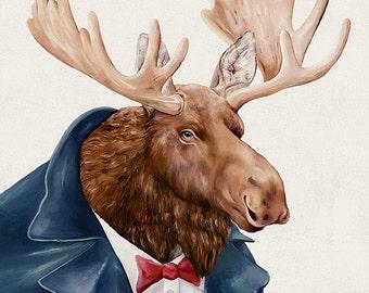 MOOSE in Navy Blue, Art Print, Moose Illustration, Modern Wall Art, By Animal Crew