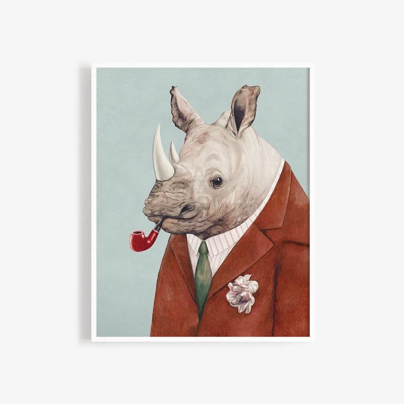 Rhinoceros Art Print  Animal Wall Art  Large Animal Print  image 0