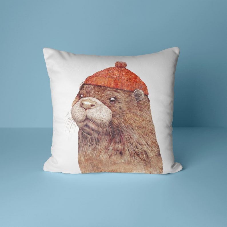 Otter Throw Pillow  Sea Otter  Nautical Nursery  Ocean image 0
