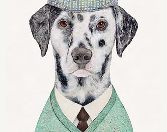 Dalmatian Art Print, Dalmatian Illustration, Boys Room, Dapper Dog,