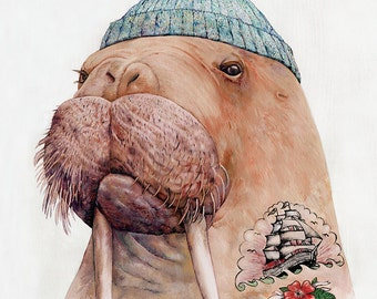 Tattooed Walrus Art Print, Walrus Poster, Sailor portrait, Boys Room Poster, Animal Crew