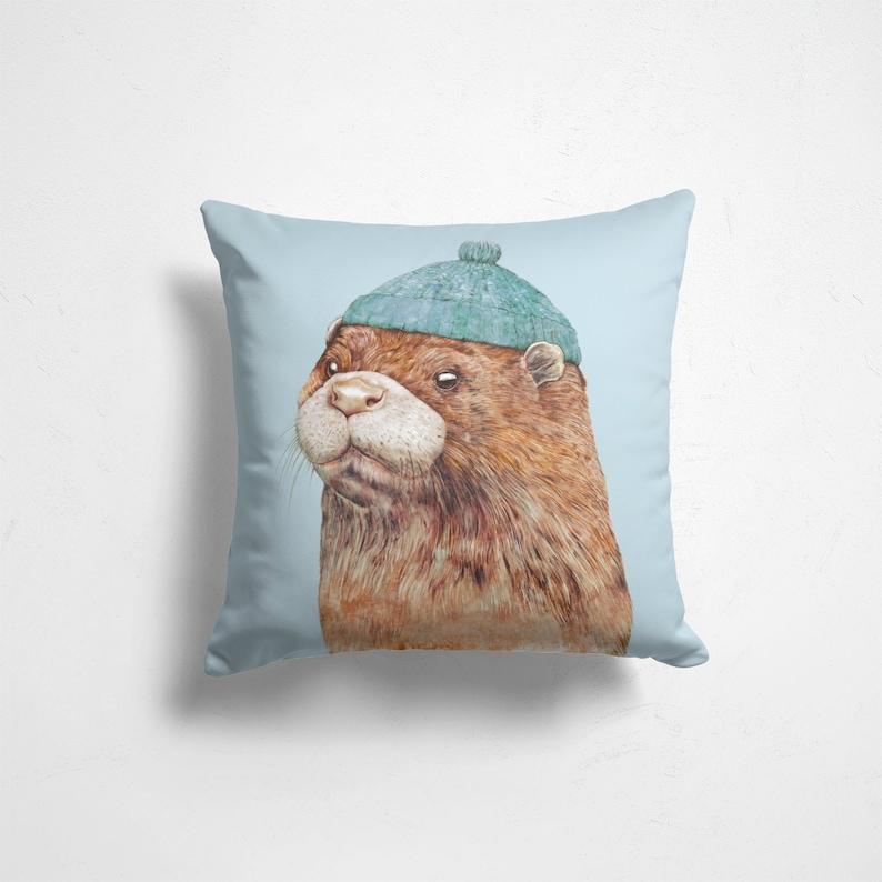Sea Otter Throw Pillow  Nautical Nursery  Ocean Nursery image 0