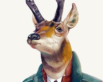 Pronghorn Deer Art Print, Deer illustration, Animal Poster Print