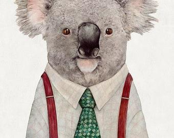 KOALA Art Print, Koala Illustration, Animals, Koala portrait, Australian Animals, Kids Room Decor