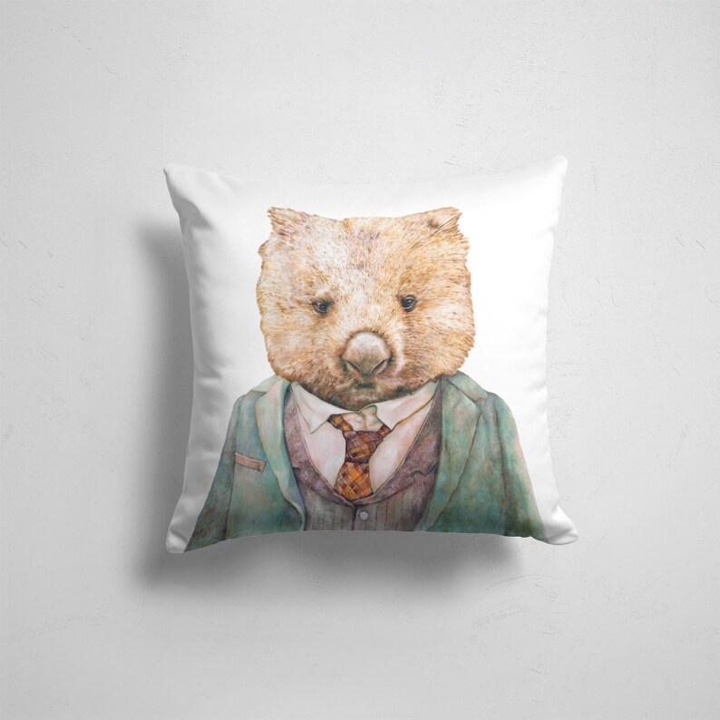 Wombat throw Pillow  Baby Animal Nursery Decor Cushion image 0