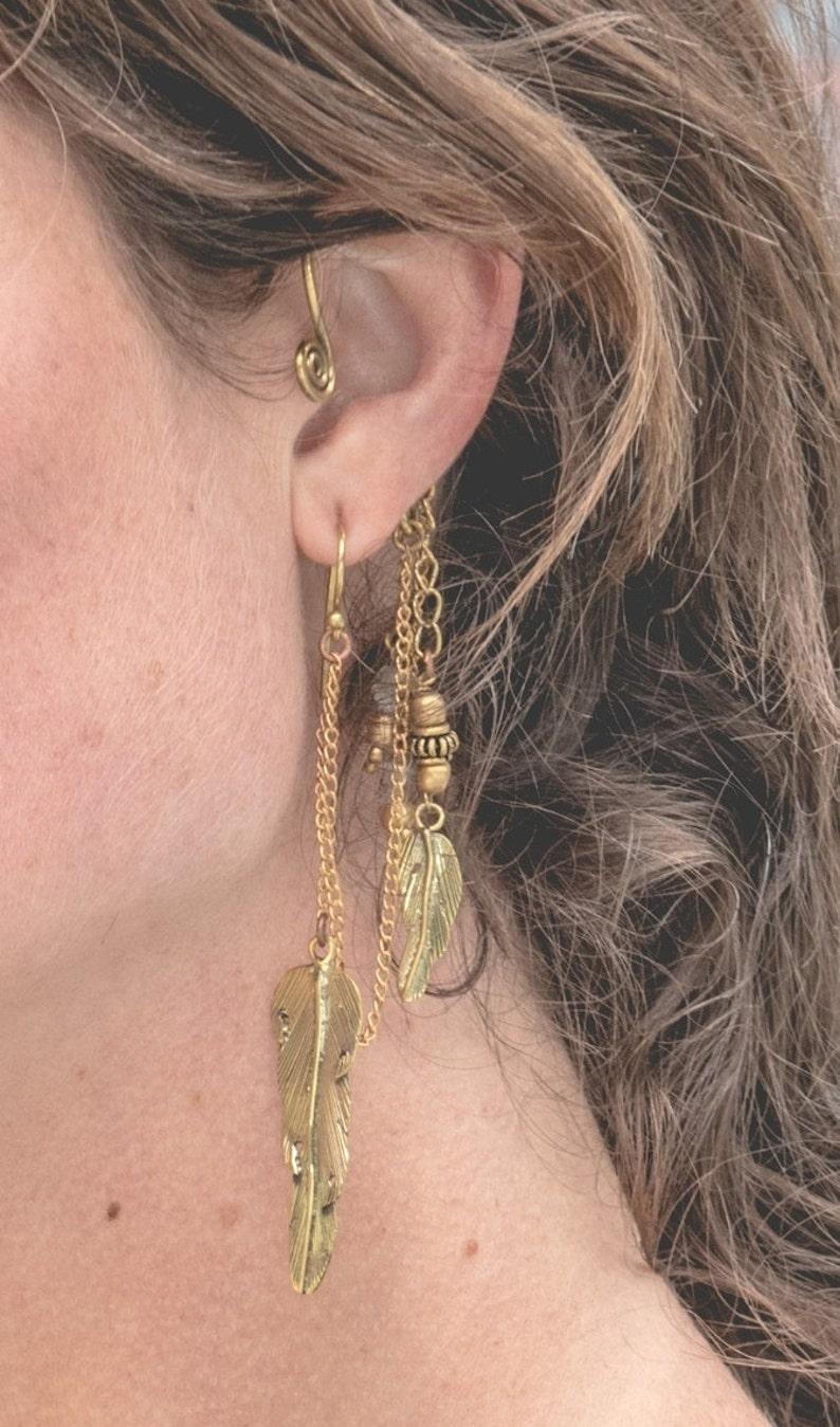 boho jewellery large earring Brass Feather Ear Cuff hippy jewellery ear wrap ststement piece earring hippy ear cuff