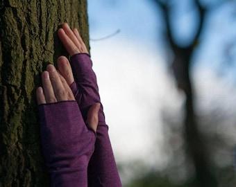 Wristwarmers Simply Plain - 6 Colours: Long Fingerless Gloves, Mittens, Arm Warmers, Goa, Festival, Vegan, Cotton Jersey, Warm, Steampunk