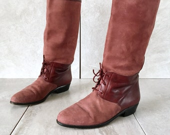 34007a90ea15b 90 s Burgundy Red Suede Riding Boots   Vintage Tall Leather Lace Up Boot    EU 37