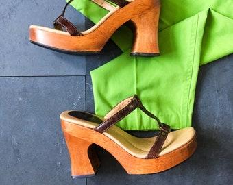 90de6044239a 90 s Platform Wooden Slide Sandal   Vintage Chunky Heel Clog   Size 7 M