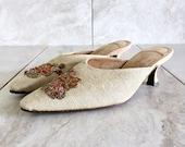 Vintage Beige Linen Embroidered Mule Evelyn Paul Kitten Heel Slipper Size 5