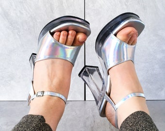 aac4486079f 90 s Silver Clear Platform Mary Jane Sandal   Vegan Strappy Heel   Size 8