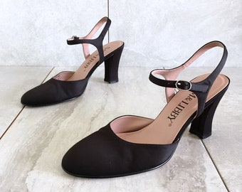 467fcc4d9ad 90 s Black Satin Mary Jane Heels   Vintage Heel   Women s 8.5