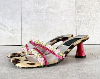 045324eca921e 90 s Dolce and Gabbana Leopard Clear Slide Sandal   Pink Kitten Heel   Size  36.5