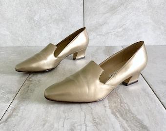 4200a0e1c84c 90s Gold Leather Loafer   Marie Antoinette   Vintage Kitten Heel   Women s  6-7