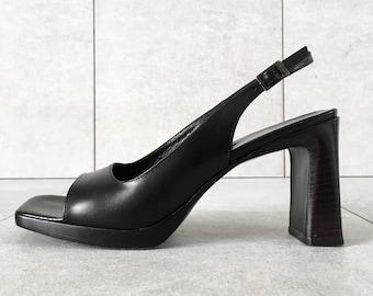 11acd9deabe 90 s VIA SPIGA Black Leather Slingback Heel   Vintage Sandal   Womens 6