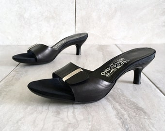 42b527cfa87 90 s Salvatore Ferragamo Black Leather Slide Sandal   Vintage Kitten Heel    Size 6.5 M