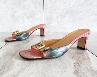 37f39787fb4 90 s Icon Pink Leather Watercolor Slide Sandal   Vintage Kitten Heel with  Buckle Straps   Size 6.5 M