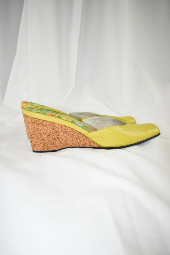 Vintage Chartreuse Green Wedge Mules / Size 7 - image 7