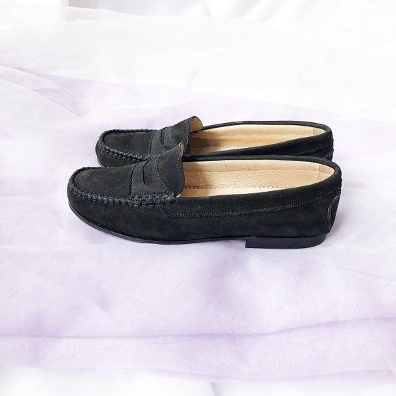 90's Black Suede Loafers Flats / Size 6