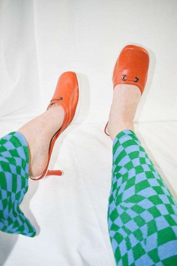 90's Orange Square Toe Mules / Sporty Heels / Siz… - image 3