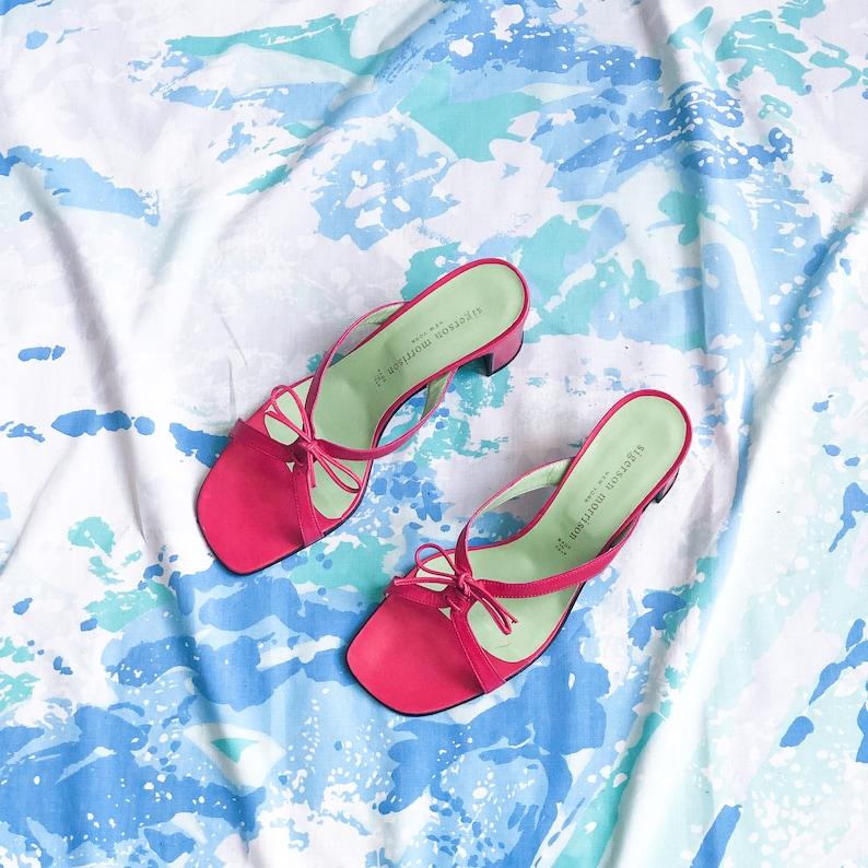 90/'s Pink Lace Up Slide Sandal  Size 7