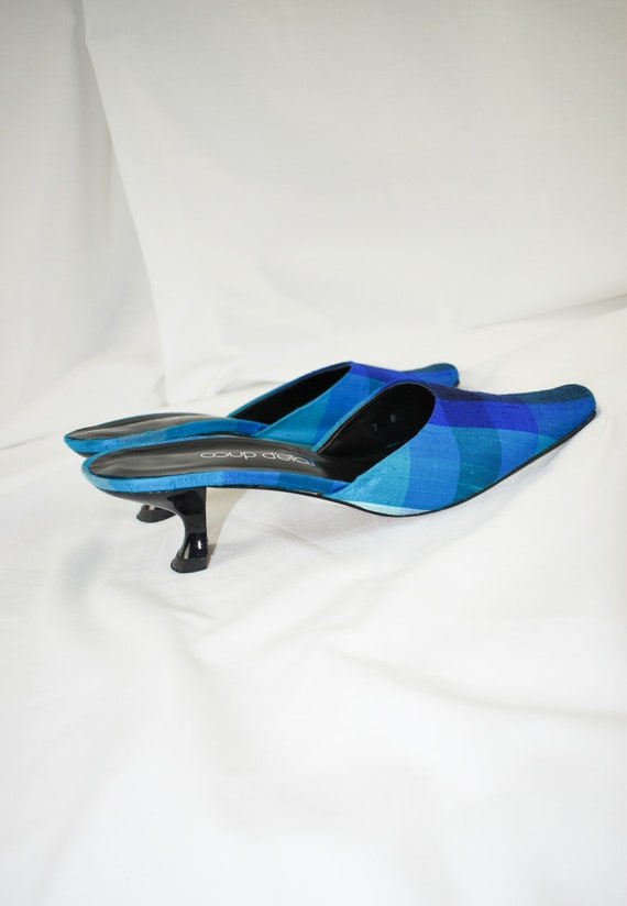 90's Blue Checkered Pointed Toe Mules / Flared He… - image 6