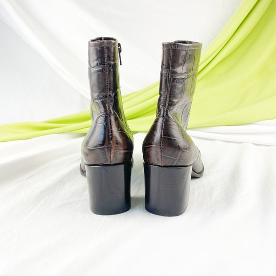 90's Crocodile Leather Ankle Boots / Block Heels … - image 6