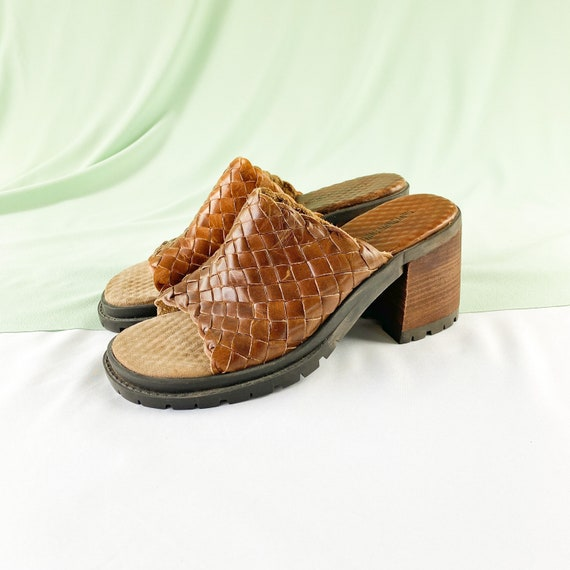 90s Woven Leather Square Toe Slides Mules / Block