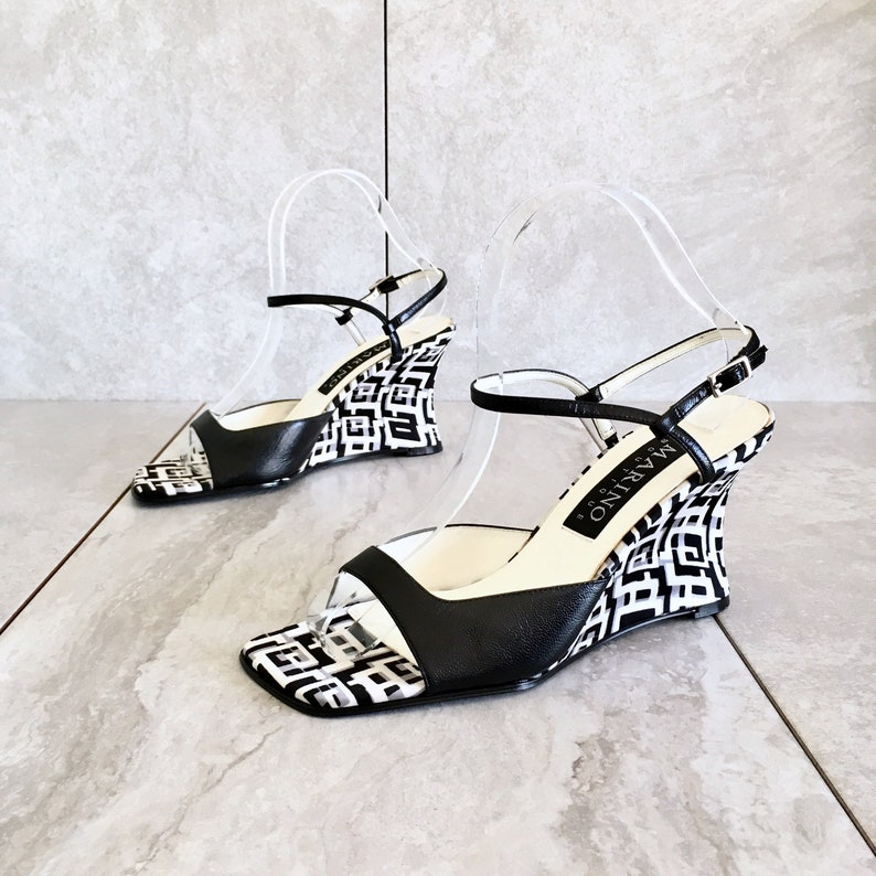 2912a54d44e21 CLEARANCE 90's Black White Checkered Wedge Sandal / Vintage Mary Jane /  Strappy Sandal / Women's 7M
