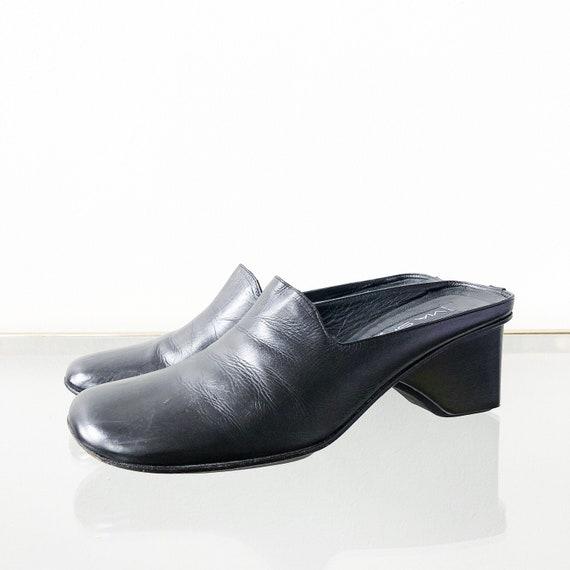 90's Via Spiga Black Mules / Block Heel / Size 7.5 - image 4
