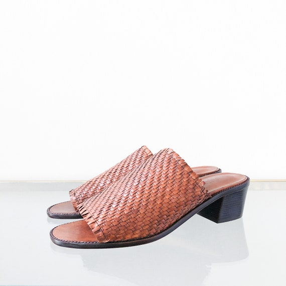 90's Woven Leather Mule Slide Sandal / Block Heel