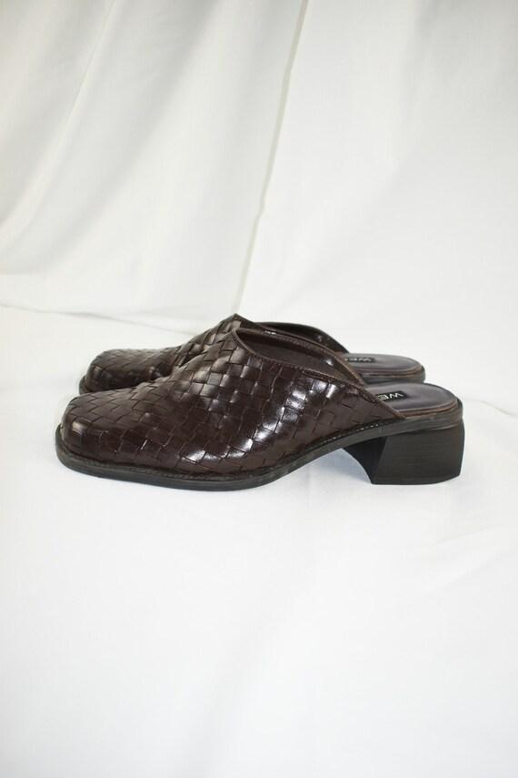 90s Woven Square Toe Mules / Block Heels / Size 9