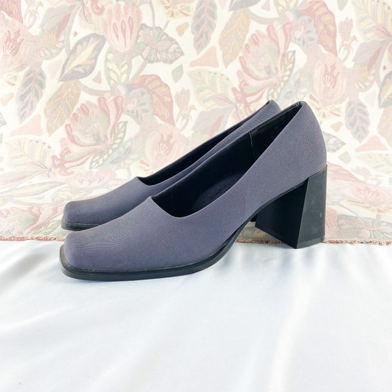 90's Gray Square Toe Chunky Pumps Loafers / Block