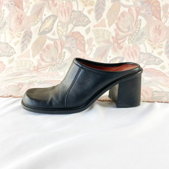 90's Black Leather Square Toe Mules / Block Heels
