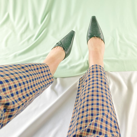 90's Green Crocodile Snakeskin Mules / Pointed To… - image 3