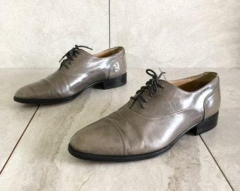 Vintage Men's Gray Lace Up Oxford / Bally / 70's 80's / Vintage Flat / Men's 8.5D, Women's 10.5-11