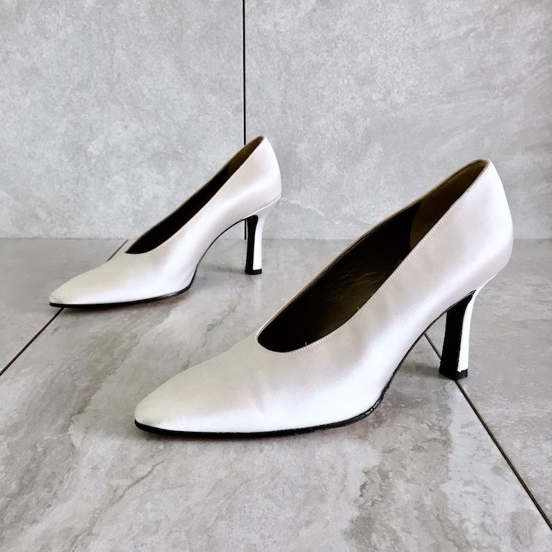 9e4142c0c36 Vintage Yves Saint Laurent YSL White Cream Silk Heels / 80s | Etsy