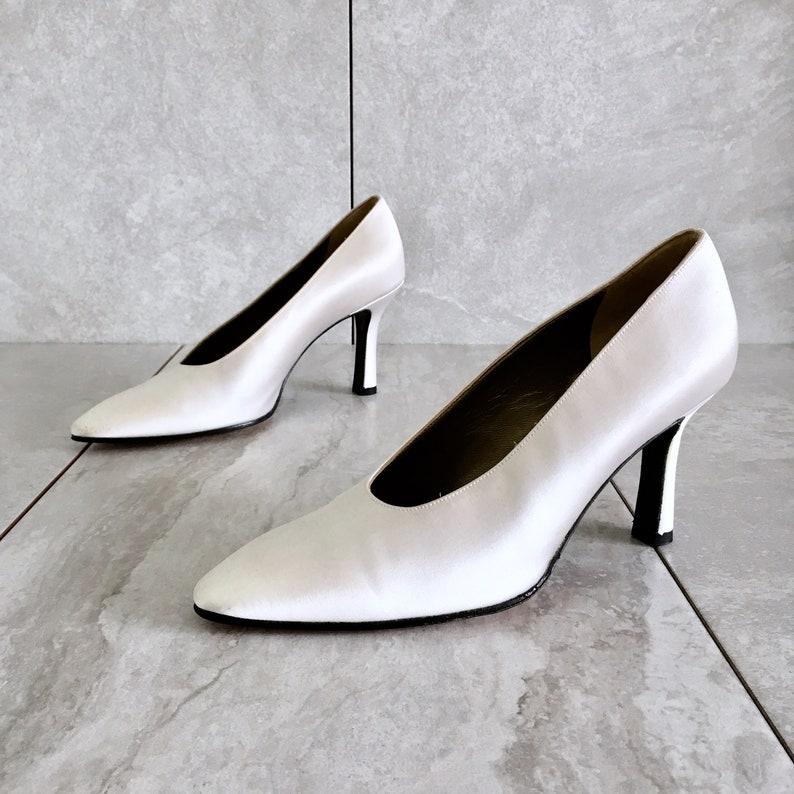 b8465bdbdbb1 Vintage Yves Saint Laurent YSL White Cream Silk Heels   80s