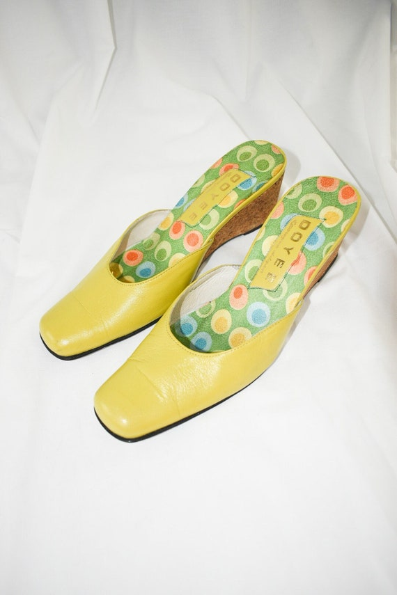 Vintage Chartreuse Green Wedge Mules / Size 7 - image 1