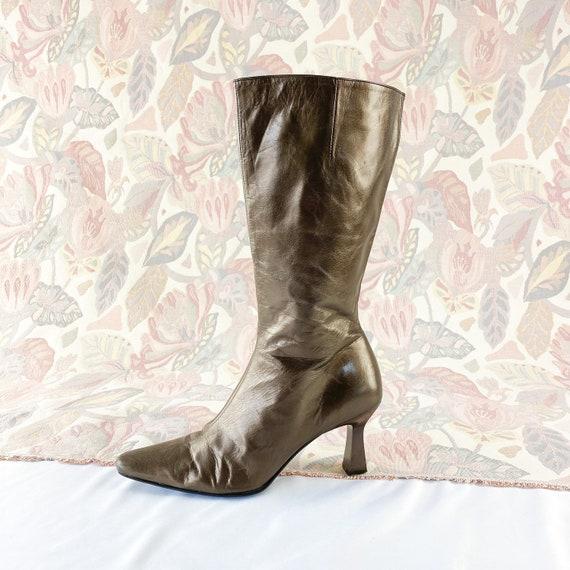90's Bronze Leather Metallic Midi Boots / Kitten H