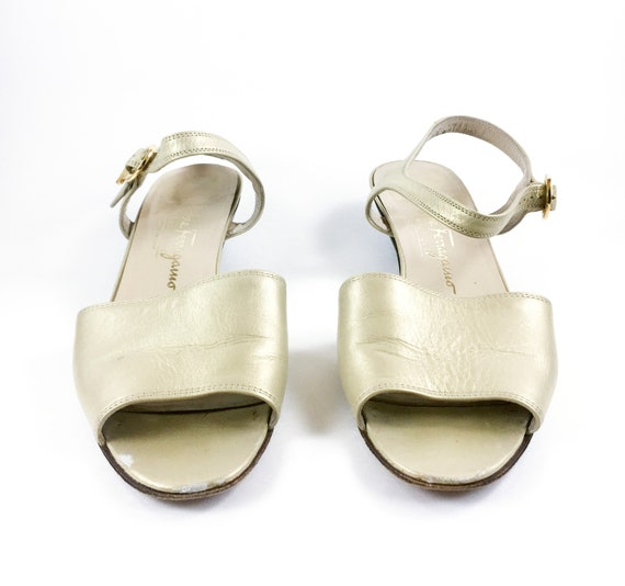 2b651042afa57 CLEARANCE 80's Salvatore Ferragamo Gold Mary Jane Sandals / Block Heel /  Women's 7-7.5, 7.5AA