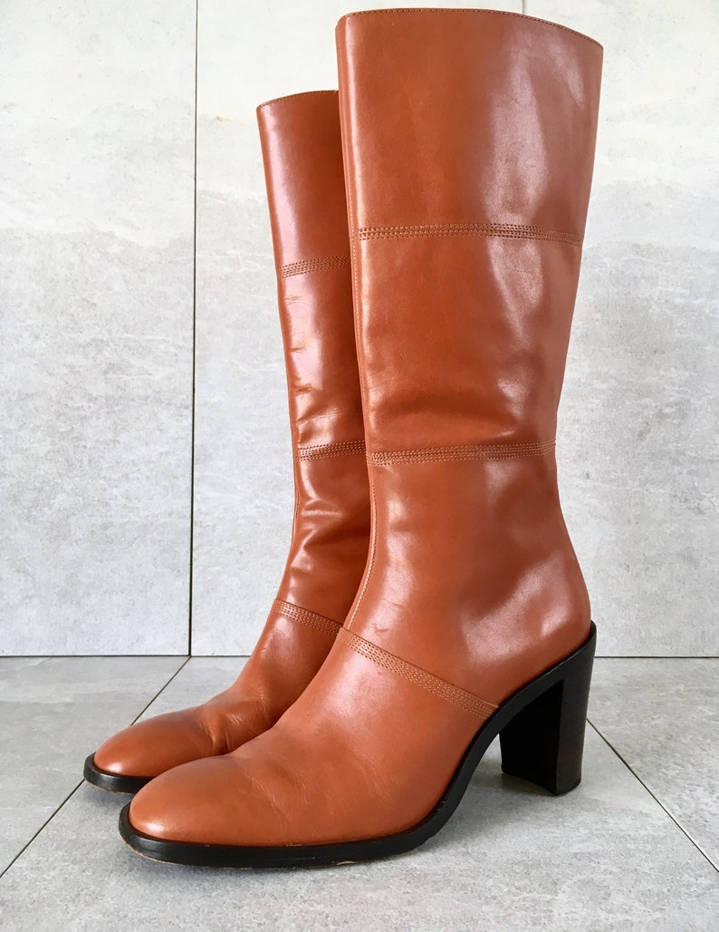 89e94a02b91 90's BCBG Burnt Orange Tall Leather Boot / Vintage Zip Up Boot / Knee High  Boot / Size 7B