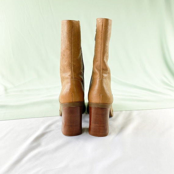 90's Tommy Hilfiger Tan Square Toe Midi Boots / B… - image 5