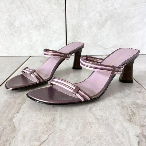 09ff05a765f 90 s Purple Leather Slide Sandal   Vintage Strappy Sandal