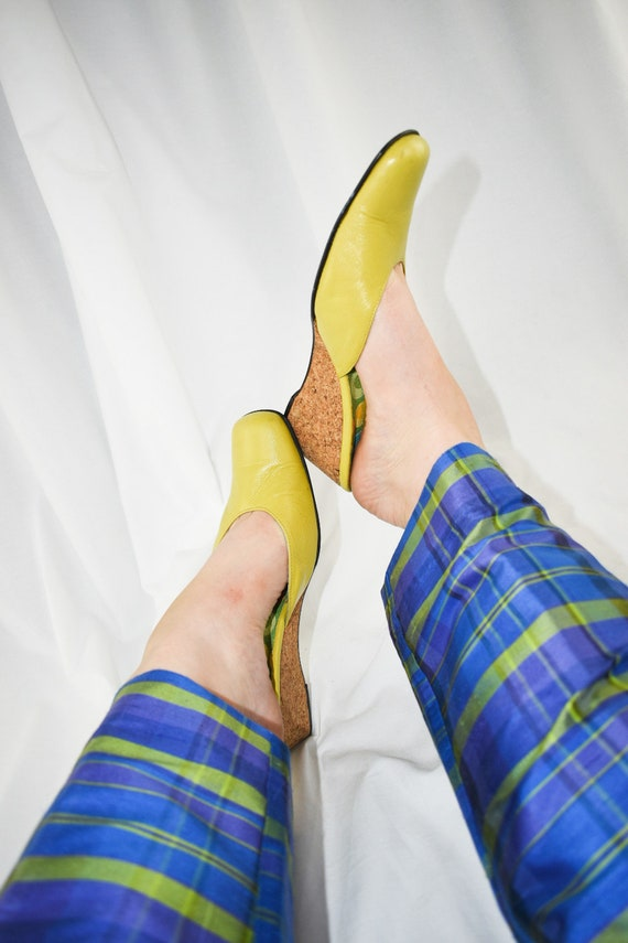 Vintage Chartreuse Green Wedge Mules / Size 7 - image 2