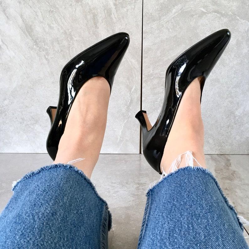 7572bd918 90's Black Patent Leather Heels / Evan Picone Pumps / Size | Etsy