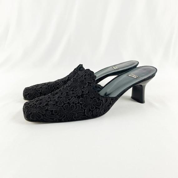 90's Stuart Weitzman Black Lace Square Toe Mules … - image 3