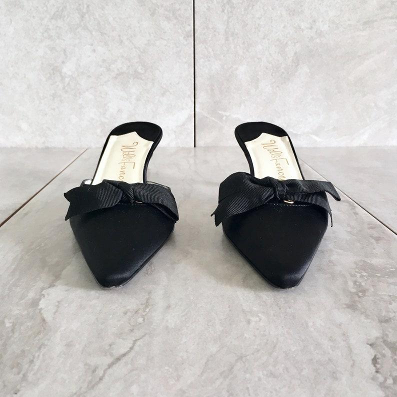 c09bee1de90 90 s Black Silk Mule   Vintage Kitten Heel with Bow   Size